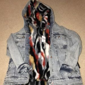 Multi color faux jean jacket